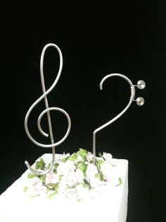 Musical Cake Topper Treble and Bass Clef Music Notes Wedding Cake and Special Events. $35.00, via Etsy.