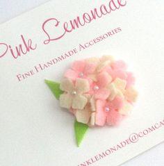 Felt Hydrangea Flower Hair Clip, Baby Flower Hair Clip, Pink and Cream, Easter Hair Clip. $7.25, via Etsy.  #LittleStyleEaster