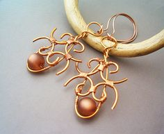 Wire Wrap Steampunk Earrings Copper Wire and Resin by GearsFactory, €16.00