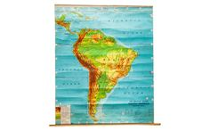 Vintage Costello South America Pull Down Map - Old New House® Pull Down Map, Custom Items, Old And New, South America, Vibrant Colors, New Homes, Typography, 1960s, Artwork