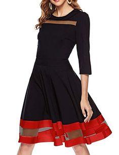 b1e139e13e9a Simple Flavor Women's Flare Midi Dress 3/4 Sleeve Swing A-Line Cocktail  Dress at Amazon Women's Clothing store: