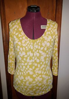 Boden Women's Scoop Neck Gathered Front 3/4 Sleeve Top Size 10 #Boden #Popover
