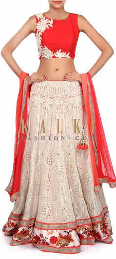 Buy Online from the link below. We ship worldwide (Free Shipping over US$100). Product SKU - 306574. Product Link - http://www.kalkifashion.com/white-lehenga-adorn-in-zari-embroidery-only-on-kalki-18473.html