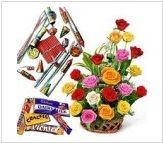 Diwali Express Dhamaka Flower bouquet Chocolates and Fire Crackers. Greet the auspicious occasion of Diwali with this hamper