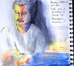 Minnie Valero: Nick Kolesnikow, painter, ink and watercolor sketc...