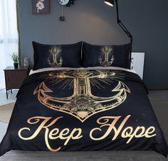 BeddingOutlet 3 Pcs Gold Anchor Duvet Cover <font><b>Set</b></font> With Pillowcase Retro <font><b>Bedding</b></font> <font><b>Set</b></font> <font><b>King</b></font> <font><b>Size</b></font> Luxury Soft Microfiber Quilt Cover Blue Bedding Sets, Duvet Bedding Sets, Luxury Bedding Sets, Comforters, Modern Bedding, Gold Bedding, Queen Bedding, Bedspreads, Best Duvet Covers