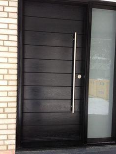 Front Entrance Door-Modern Door- Entry Front Door-Modern Fiberglass Door Frosted side lites installed in Aurora Exterior Entry Doors, Front Entrances, Front Doors With Windows, Contemporary Front Doors, Entrance Doors, Front Door, Fiberglass Door, Modern Wood Doors, Doors