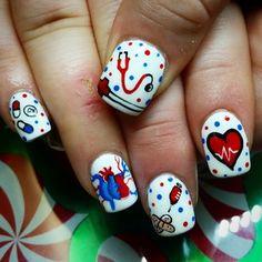 #nails #nailart #naildesign #nailtech #simple #sweet #cutenails #pronails #nailpro #winternails #nurse #nursenails #heartbeat #hearts #pills #lol  - ladysykrys via Instagram