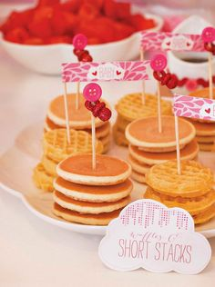 mini pancake and waffle stacks--adorable... but how do you keep them warm?