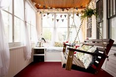 I need to redo my porch... love the banner and the swing makes me wanna paint my swing... and hang a chalk board or 3