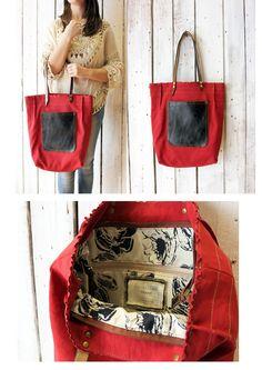ROSY BAG 2 Handmade Italian Leather & Canvas Tote Handbag di LaSellerieLimited su Etsy