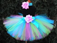 "Birthday Tutu Set with Tutu and Headband - Blue Pink Green Tutu Skirt for Girls, Babies, Toddlers - Neon Shine - Custom Sewn 12"" Tutu. $40.00, via Etsy."