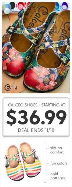 Sign up to shop Calceo shoes starting at $36.99. Calceo makes footwear fun with bold patterns, pops of color and funky silhouettes. Turkish-made and lovingly crafted, these pairs add intrigue to every outfit. Deal ends 11/18.