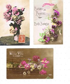 Antique,Postcard.LOT of THREE.retro.Paris.french.rare.scrap book.flower.home decor.mom.note.author.writer.carte fantasie.vintage.crafting. by JackieBassettArt on Etsy