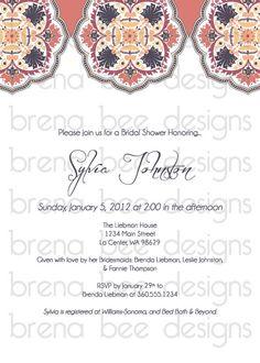 Sylvia Style Wedding/Shower Invitation Custom by brenabeedesigns, $10.00