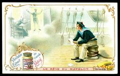 """Liebig S645 - The Dreams of The Sailor  Liebig Beef Extract, French issue 1900. """"Dreams"""""""