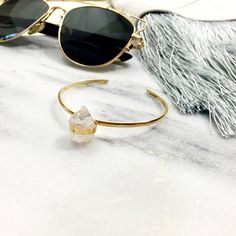 Quartz Crystal Cuff Bracelet Details: • Adjustable • Brass and quartz crystal  • Hand crafted • This is a hand made piece, meaning no two are alike and any imperfections are part of the design • NWT   04011631 Jewelry Bracelets
