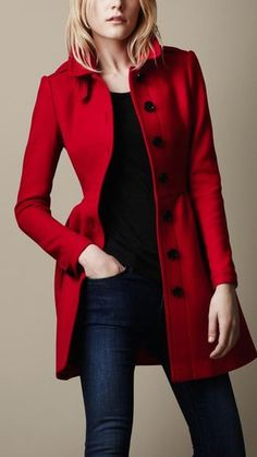 Wool Twill Dress Coat from Burberry.winter warmth and style Have always wanted a beautiful red red coat to stand out in winter Fashion Mode, Look Fashion, Womens Fashion, Fashion Trends, Fashion Sets, Top Mode, Coat Dress, Red Coat Outfit, Mode Style