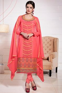 Buy online beautiful collection of party wear salwar suit and casual wear salwar suit. Shop this cotton peach embroidered and resham work churidar suit. Beautiful Pakistani Dresses, Pakistani Dresses Online, Pakistani Outfits, Cotton Salwar Kameez, Churidar Suits, Festival Wear, Festival Outfits, Wedding Salwar Suits, Latest Salwar Suits