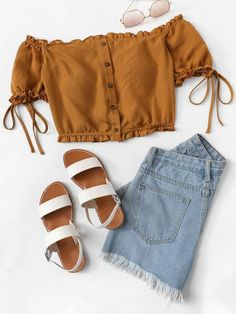 Frill Trim Button Up Off Shoulder Top -SheIn(Sheinside) - Lässiges Outfit Teenage Outfits, Teen Fashion Outfits, Look Fashion, Trendy Fashion, Girl Outfits, Dress Fashion, Fashion Clothes, Style Clothes, Spring Outfits For Teen Girls