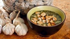 Garlic Soup, Caraway Seeds, Peeling Potatoes, Bon Appetit, Fries, Stuffed Peppers, Chicken, Dishes, Vegetables