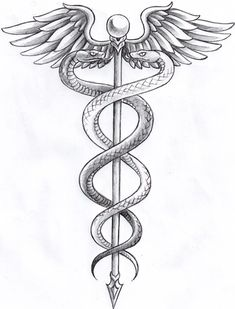 The Caduceus is an attribute characterizing the two functions of Hermes: a messenger of God associated with the descending phase and also a psychopompos, transporting humans from a state of being to another, through an ascending phase.