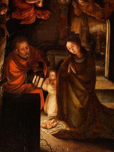 ANBETUNG DES KINDES IN BETHLEHEM Öl auf Eichenholz. 55 x 36,2 cm. Ohne Rahmen. Die nächtliche Szene ist in das Licht einer Laterne getaucht. Maria und Josef...