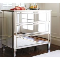 Park Mirrored Dresser ($1,099) ❤ liked on Polyvore featuring home, furniture, storage & shelves, dressers, silver, mirrored furniture, pottery barn dresser, eglomise furniture, key furniture and mirrored glass furniture