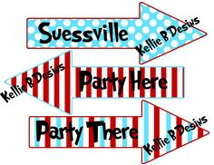 Printable Dr. Suess The Cat in The Hat Arrow Birthday Signs on Etsy, $6.00