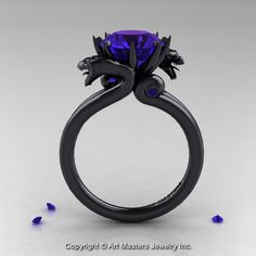 Modern Dragon 14K Black Gold 3.0 Ct Tanzanite by artmasters, $3,259.00