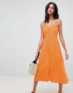 Buy Warehouse Stripe Button Midi Dress at ASOS. With free delivery and return options (Ts&Cs apply), online shopping has never been so easy. Get the latest trends with ASOS now. Vestidos Color Pastel, Orange Mode, Cute Dresses, Summer Dresses, Robes Midi, Orange Fashion, Orange Dress, Latest Dress, Mi Long