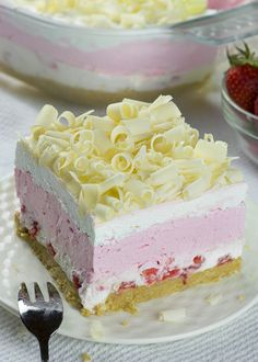 No Bake Strawberry Jello Lasagna - Chocolate Dessert Recipes - OMG Chocolate Desserts