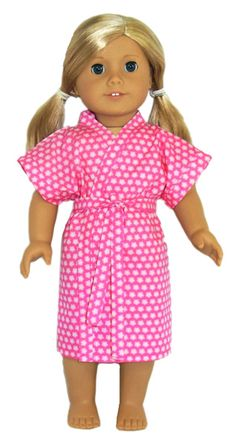 This Dressing Gown is perfect for lazy days, sleepovers or as a coverup at the beach for your American Girl doll. Change the fabric and change the look ….. use cotton, satin or towelling and add a contrasting trim. The variations are endless.  This PDF pattern comes with LIFETIME access to video instructions with Rosie showing you step-by-step how to create this wonderful outfit - so it will turn out perfectly the first time!