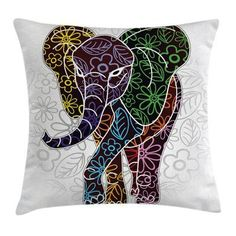 East Urban Home Ambesonne Batik Throw Pillow Cushion Cover, Digital Big Elephant With Floral Lines And Tribal Shapes Wild Life Theme Image, Decorative Elefante Hindu, Throw Pillow Covers, Throw Pillows, Biggest Elephant, Batik Art, Velvet Pillows, Decorative Cushions, Illustrations, African Art
