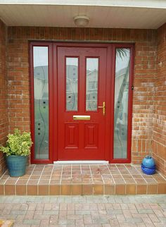 Palladio composite doors by Murphy Larkin Front Door Entrance, Front Doors, Garage Doors, Porch Ideas, Door Ideas, Red Doors, Front Porch Design, Composite Door, Front Windows