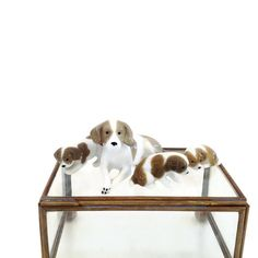 Vintage Porcelain Dogs - Ceramic Dogs - Mom Dog and Three Puppy Dogs - Terrarium Decor - Miniature Ceramic Animals  - Dog Figurines by VintageModernHip on Etsy