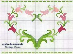 Cross Stitch Letters, Mini Cross Stitch, Cross Stitch Heart, Cross Stitch Borders, Cross Stitching, Embroidery Hearts, Cross Stitch Embroidery, Cross Patterns, Stitch Patterns