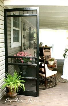 Far Above Rubies: Repurposing a screen door as a porch divider