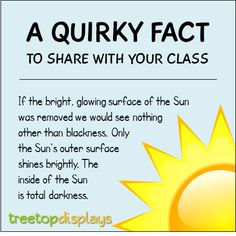 A quirky fact about the Sun to share with your class - from Treetop Displays. Visit our TpT store for printable resources by clicking on the provided links. Designed by teachers for Pre-Kindergarten to Grade. Fun Facts For Kids, Fun Facts About Animals, Animal Facts, Wtf Fun Facts, Funny Facts, Activities For Kids, Science Facts, Science Lessons, Teaching Science