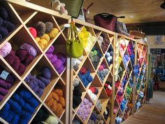 Another example of the diamond yarn storage.  Need to put a curtain across the front with a small track/lip to keep dust (and children and animals) out it.