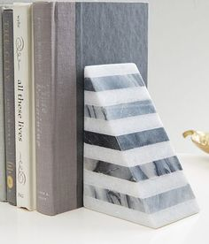 striped angle geometry bookend  http://rstyle.me/n/quypnpdpe