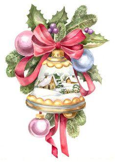 Merry bell for Christmas Vintage Christmas Images, Retro Christmas, Vintage Holiday, Christmas Pictures, Christmas Art, Winter Christmas, Crochet Christmas, Christmas Scenes, Christmas Bells