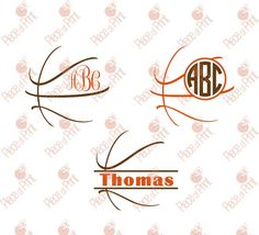 Basketball SVG Cut Files cut files for Silhouette and Cricut by pieceofprint #svg #basketball #monogram