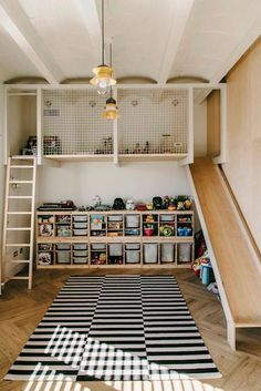 Super fun and functional kids room design idea! Elevated play area a ladder to climb and the best part an indoor slide! The post Super fun and functional kids room design idea! Elevated play area a ladder to appeared first on Children's Room. Playroom Design, Kids Room Design, Playroom Decor, Nursery Decor, Barcelona Apartment, Industrial Bedroom, Industrial Style, Industrial Design, Kitchen Industrial