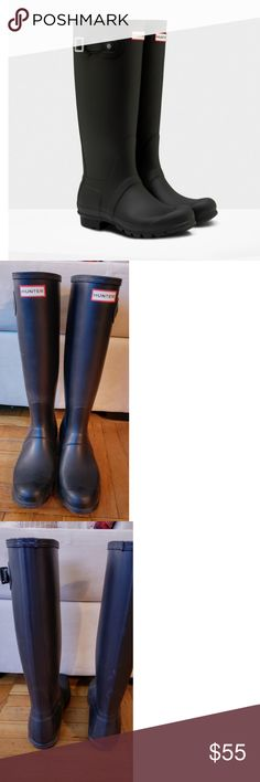 Hunter Original Wellington Boots First introduced in 1956, the Original Tall boot is handcrafted from 28 parts and built for exceptional fit and comfort. Fully waterproof Polyester lining Non slip rubber outsole with original tread pattern 100% authentic Pre-loved, only worn a few times Hunter Shoes Winter & Rain Boots