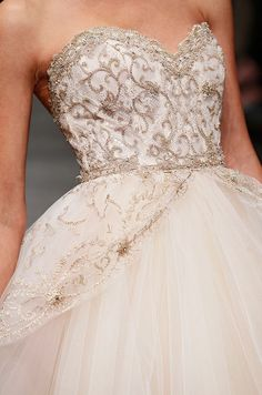 Gold detailing on a pale pink Lazaro wedding gown, Spring 2013