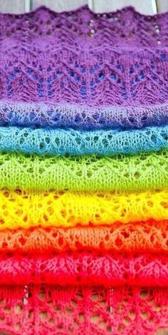 Rainbow kaleidoscope of colours - layers of lace