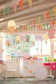 Decoración Baby Shower para niña con helados