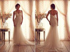 Exquisite Beading Deep V-Neck Column Court Train Prom Gowns Evening Dresses