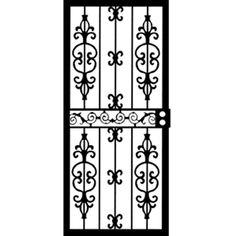 Grisham 36 in. x 80 in. 407 Series Black Moscow Security Door Powder  sc 1 st  Pinterest & Grisham 36 in. x 80 in. 409 Series Spanish Lace Steel Black Prehung ...